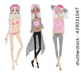 vector cute summer fashion girls | Shutterstock .eps vector #439031047