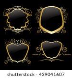 set of golden frames on vintage ... | Shutterstock .eps vector #439041607