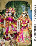 Small photo of Durban, South Africa - March 20, 2016: Hindu god Krishna with his wife Radha. Bright colorful sculptural composition. Artistic retouching.