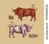 beef farm design template.... | Shutterstock .eps vector #439084933