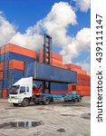 crane lifter handling container ... | Shutterstock . vector #439111147