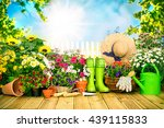 gardening tools and flowers on... | Shutterstock . vector #439115833