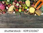 Fresh Tropical Fruit On Wood O...