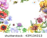 Watercolor Floral Frame With...