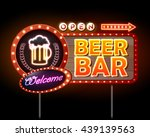 beer bar neon sign | Shutterstock .eps vector #439139563