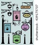 restaurant shop signs signpost...   Shutterstock .eps vector #439175737