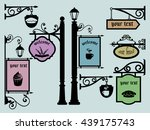 restaurant shop signs signpost...   Shutterstock .eps vector #439175743