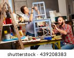 busy couple renewing chair in... | Shutterstock . vector #439208383