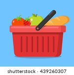 shopping basket with vegetables ... | Shutterstock .eps vector #439260307
