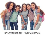 group of teenage boys and girls ... | Shutterstock . vector #439285933