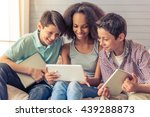 three teenagers are using... | Shutterstock . vector #439288873