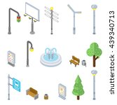 isometric city street icons  3d ... | Shutterstock .eps vector #439340713