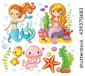 vector set on the marine theme... | Shutterstock .eps vector #439370683