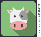 cow flat icon with long shadow | Shutterstock .eps vector #439374697