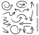 black vector hand drawn arrows... | Shutterstock .eps vector #439381003