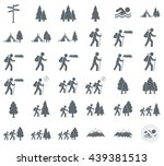 set of hiking tourists icon.... | Shutterstock .eps vector #439381513