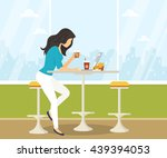 young woman working with laptop ... | Shutterstock . vector #439394053
