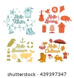 four season icons collection.... | Shutterstock .eps vector #439397347