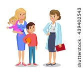 woman with children visit... | Shutterstock .eps vector #439402543