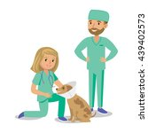 two doctors with dog. vet... | Shutterstock .eps vector #439402573