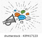 retro megaphone with speech... | Shutterstock .eps vector #439417123