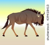 cartoon wildebeest background | Shutterstock .eps vector #439418413