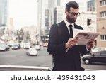 reading the latest news.... | Shutterstock . vector #439431043