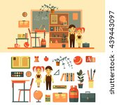 vector set of school related... | Shutterstock .eps vector #439443097