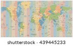 world map with standard time... | Shutterstock .eps vector #439445233
