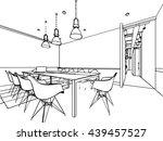 interior outline sketch drawing ... | Shutterstock .eps vector #439457527
