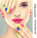 beautiful blond girl with... | Shutterstock . vector #439457803