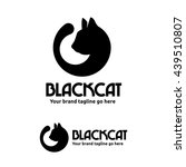 black cat logo with cat head...