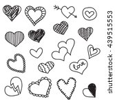 Doodle Heart Icons Set  Hand...