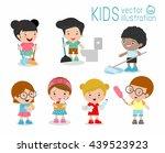 kids doing cleaning  kids... | Shutterstock .eps vector #439523923
