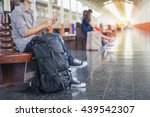 traveler man waits train on... | Shutterstock . vector #439542307