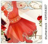 woman  festive  handbag  lip... | Shutterstock .eps vector #439554307