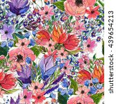 seamless watercolor floral...   Shutterstock . vector #439654213