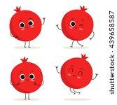 pomegranate. cute fruit vector... | Shutterstock .eps vector #439658587