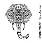 elephant head zentangle... | Shutterstock . vector #439659667