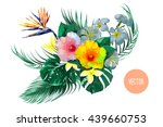 bouquet with tropical flowers ... | Shutterstock .eps vector #439660753