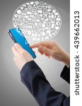hand holding mobile phone with... | Shutterstock . vector #439662013