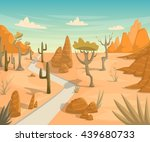 desert landscape with road ... | Shutterstock .eps vector #439680733