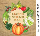 organic and natural food on... | Shutterstock . vector #439715893
