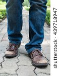 man wearing jeans and old brown ... | Shutterstock . vector #439718947
