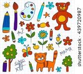 kindergarten doodle pictures on ... | Shutterstock .eps vector #439720987