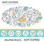 baby shower invitation template ... | Shutterstock .eps vector #439733983
