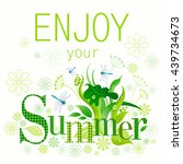 summer floral background with... | Shutterstock .eps vector #439734673
