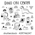 cute funny dinosaurs working on ... | Shutterstock .eps vector #439746247