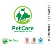 Stock vector pet care logo with dog cat bird and hand symbols 439760587