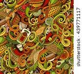 cartoon hand drawn mexican food ... | Shutterstock .eps vector #439771117